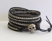 Skull Wrap Bracelet - Gunmetal Pewter Nuggets, Black Leather