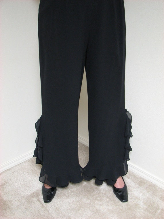 RUFFLED PALAZZO PANTS Embellished with Ruffles to the Knee in Sheer Fabric Fully Lined