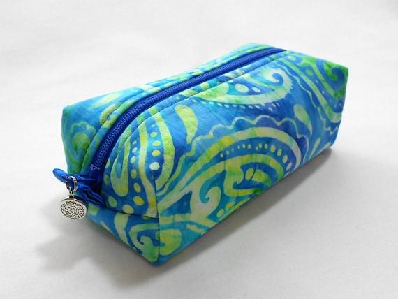 Mini Accessory Bag - Paisley Batik in Sea Colors