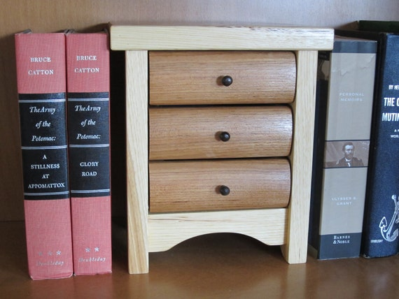 Wood Box, Wood Box of Drawers, Jewelry Box, Desk Organizer, Small Wood Box, Hickory Wood Box