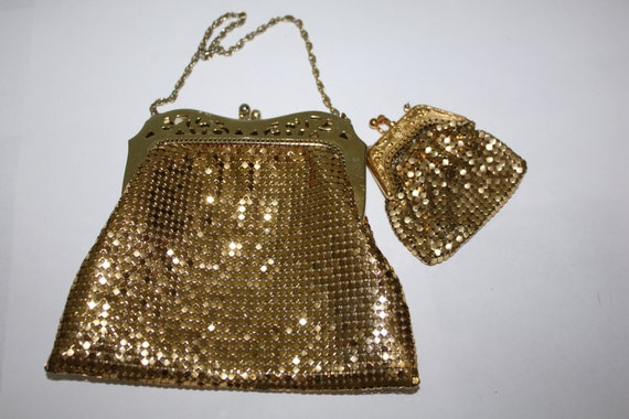 RESERVED  K   Vintage Purse Evening Gold Mesh 1950s Whiting Davis