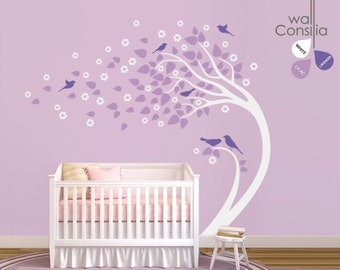 "Baby Nursery Wall Decals - White Tree Wall Decal - Tree Wall Decals - Large: approx 82"" x 101"" - K021"