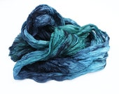 turquoise silk scarf - Varadero - turquoise, navy blue, blue, green, grey, dark grey silk scarf.