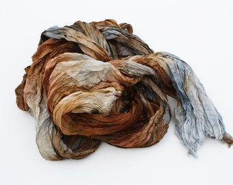 scarves, silk scarf - Simply Versailles-  brown, cognac, grey silk scarf.