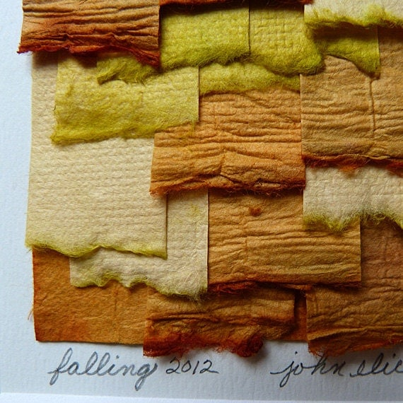Handpainted Paper Collage Yellow and Orange