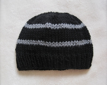 Black and Gray Toddler Beanie for Boys. Beanies for Kids. Black Beanie for Children. Beanie with Stripes.