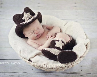 Lil' Cowboy Hat , Diaper Cover and Boot Set- Made to Order- Any Size