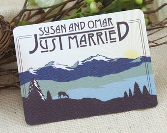 Craftsman Rocky Mountains Just Married Announcement Postcard: Get Started Deposit or DIY Payment