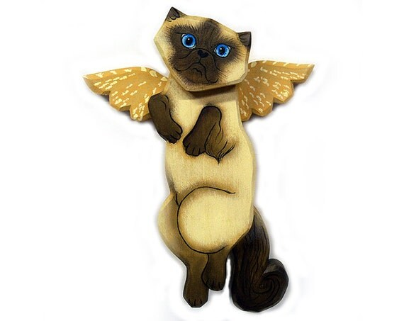 Angel Cat Sealpoint Himalayan Cat Angel Wooden Wall Hanging
