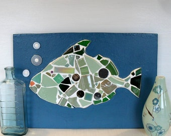 Fish Mosaic Panel Picture in Teal Blue and Green