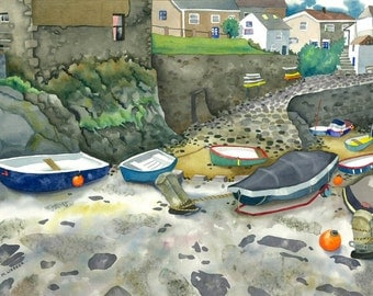 Cornish Harbour Limited Edition Giclee Print Cornwall Painting