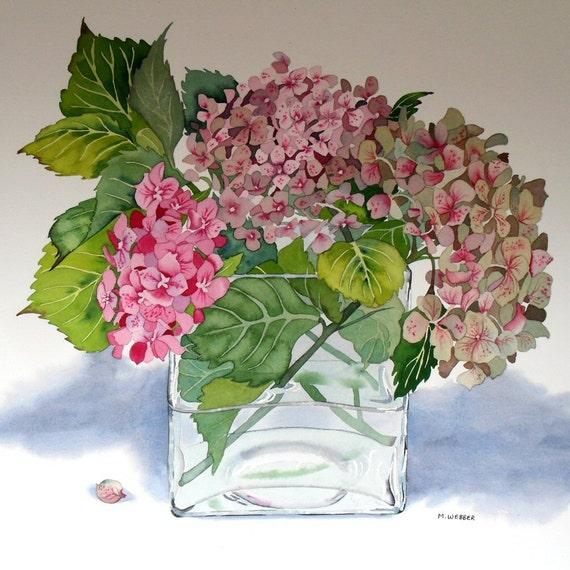botanische blumen aquarell hortensie pink limited. Black Bedroom Furniture Sets. Home Design Ideas