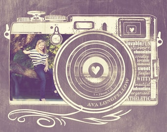 A Picture Says a Thousand Words - 11 x 14 Customized Photo Art - Retro Camera - Vintage Hue or Straight Chalkboard Look