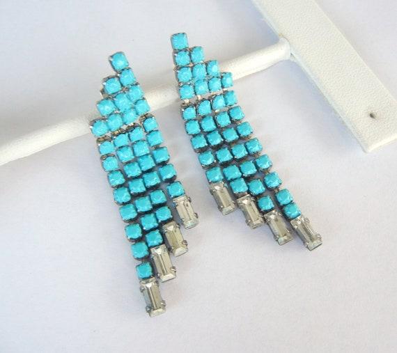 Vintage 1950s One Of A Kind Turquoise Rhinestone Dangle Earrings