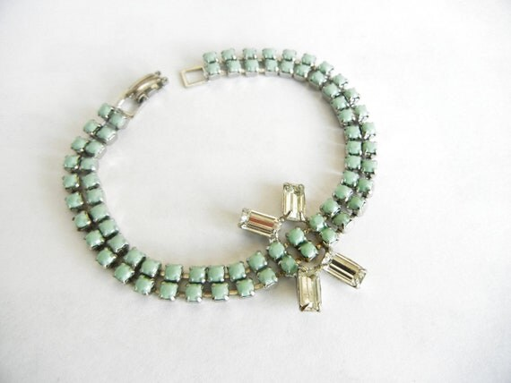 Vintages 1950s Hand Painted One Of A Kind Mint Green Rhinestone Bracelet