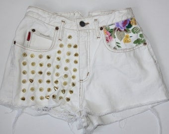 White Studded Floral Denim Shorts XS