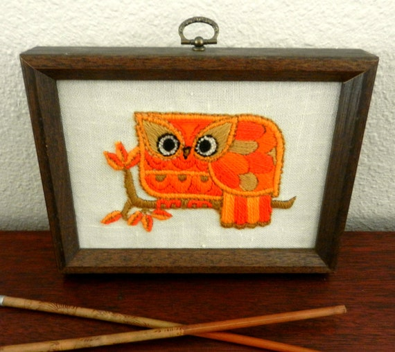 Owl Crewel Embroidery  / Vintage Handmade Orange Crewel Embroidery / Owl Framed Folk Art / 1970