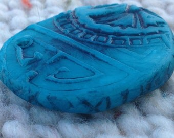 Large Blue Asian Floral Focal Bead 140