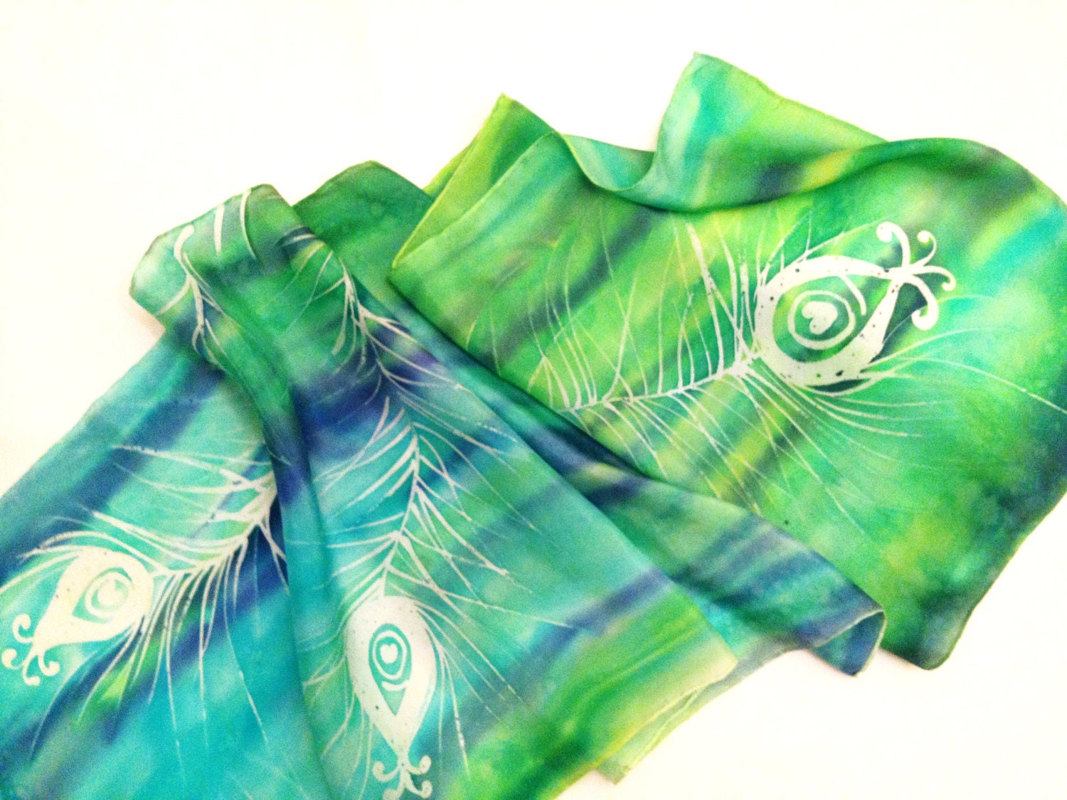 Hand Painted Silk Scarf Peacock Feather Design by ThuyVoCreative Watercolor Hand Painted Silk Scarves