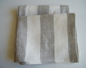 2 Natural linen/ pure flax towels, guest towels, small bath towels,  gray ecru and white stripes.