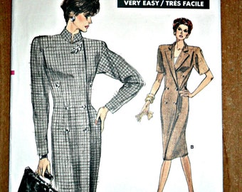 Misses Double Breasted Coat Dress and Top Sewing Pattern Vogue 7061 Size 6 8 10