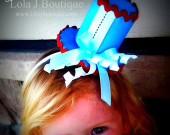 Alice Tea Party Top Hat Headband - M2M Alice Tutu Costume Deck of Cards Disney Blue White Red Black Stitch Girls Childrens Teens