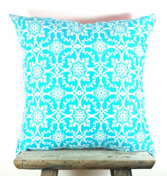 TWO Cushion Covers Turquoise Design & Tangerine Orange Fabric 50cm x 50cm