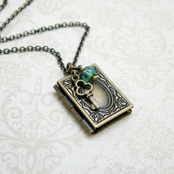 10% SALE - Memoirs Book Locket Necklace, Aqua Glass and Key - Vintage Style Brass