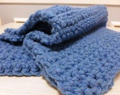 Chunky Blue Crochet Baby Blanket