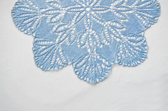 SALE 20% OFF - Blue cotton doily: blue handmade cotton knitted doily flower