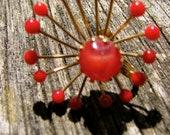 Vintage 50's Red Starburst Earrings