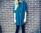 Vintage Hunter Green Teal Gold Metal Applique Button Up Oversized Shirt Dress