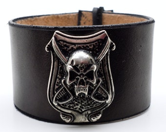 Pirate shield concho in Antiqued silver on a black leather wristband