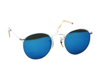 Vintage Ray Ban Bausch and Lomb W2246 Blue Mirror Round Sunglasses