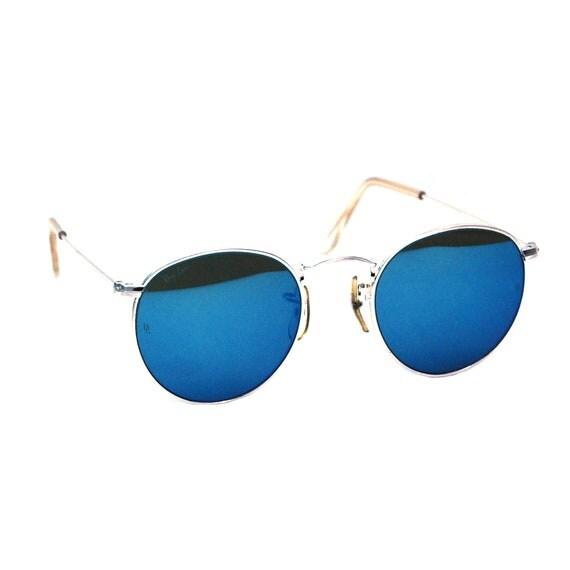 Vintage ray ban bausch et lomb w2246 bleu miroir lunettes de for Lunette soleil verre bleu miroir