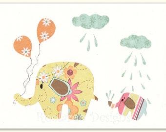 Nursery Decor, Baby Girl Baby Shower, Elephant Nursery, Baby Elephant, Balloons,  Print Baby Shower Rain Drops, - PRINT