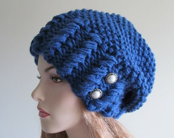 Oversized Slouchy Beanie Slouch Hats Baggy Beret Pearl Buttons womens fall winter accessory Blue Super Chunky Hand Made Knit