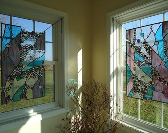 """Stained Glass Abstract Nuggets Transom Window Suncatcher Panel Valance 30"""" x 18"""""""