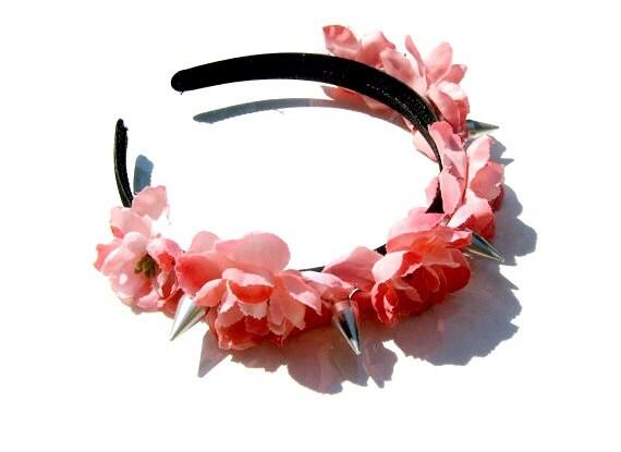 Pink flower spike headband