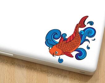 Colorful Koi Vinyl Laptop or Automotive Art FREE SHIPPING, goldfish pond fish japanese fish Koi laptop sticker nautical goldfish decal