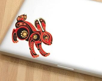 Red Rabbit Vinyl Laptop or Automotive Art FREE SHIPPING, laptop sticker rabbit lover netbook sticker 1970s art indian art laptop graphics