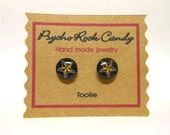 Black with Gold Star Toolie Post Earrings