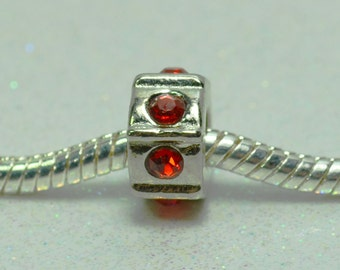 Spacer Bead with Red Crystals for  European Style Charm Bracelet