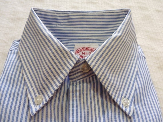 ESSENTIAL Vintage Brooks Brothers Makers Blue & White Candy Stripe OCBD Button Down Collar Dress Shirt 14 1/2 - 2. Made in USA.
