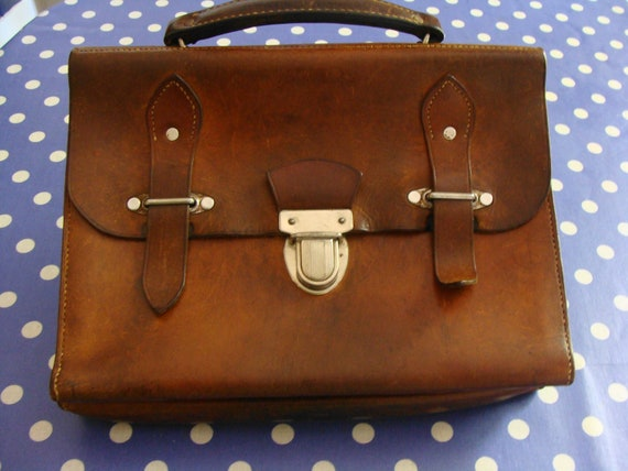 Antique Leather Briefcase. French Smallest ever. So Cute.