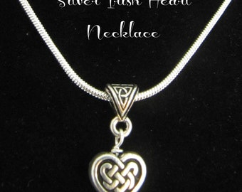 Irish Silver Celtic Knot Heart Necklace