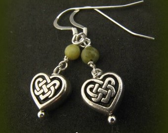 Irish Connemara Marble and Silver Celtic Heart Knot Earrings