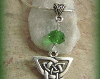 Silver Celtic Trinity  Knot & Green Crystal Necklace
