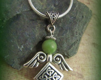 Irish Connemara Marble and Silver Celtic Knot Angel Necklace