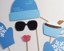 Winter Photo Booth Props - Adorable Ski Hat and Gloves shown in Winter Wonderland Blue
